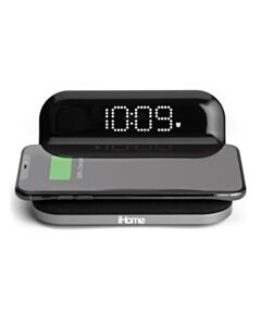 IHOME IW18 COMPACT ALARM CLOCK WITH QI WIRELESS CHARGING AND USB CHARGING (BLK/GREY)