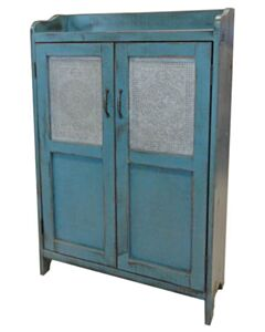 PUNCHED TIN CUPBOARD VINTAGE RED OVER BLACK