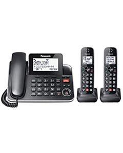 Panasonic KXTGF872B 2-in-1 Corded/Cordless Phone, 2 Handsets, Black