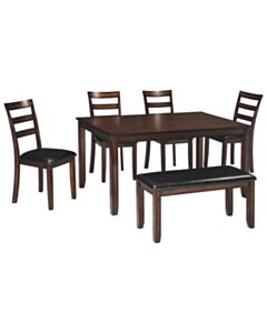COVIAR-BROWN-DINING RM TABLE SET (SEATS 6)