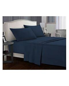 SOLID 50% COTTON 50% POLYESTER QUEEN SHEET SET