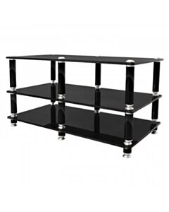 NORSTONE STABBL THREE GLASS SHELF AV RACK BLACK