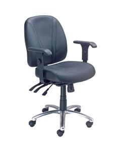 Interion® Task Chair with Mid Back & Adjustable Arms Black Leather