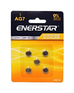 Enerstar Alkaline AG7 cell batteries; 5 pack