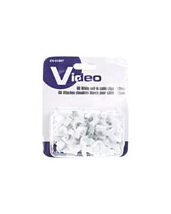 60 WHITE NAIL IN CABLE CLIPS
